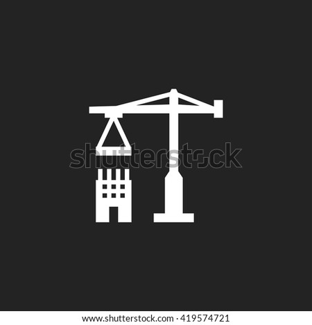 Construction Icon Fill White on Black Background - stock vector