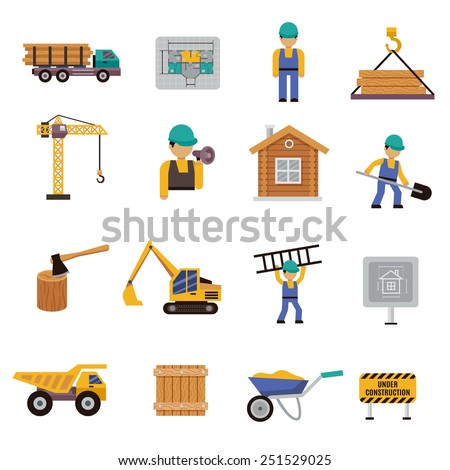 Construction icon flat set with engineer builder crane bulldozer isolated vector illustration - stock vector