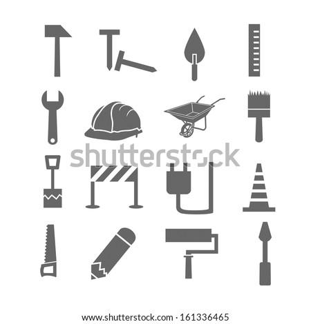 Construction icon set - stock vector