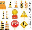 Construction icon set of road Barrier and light - stock vector