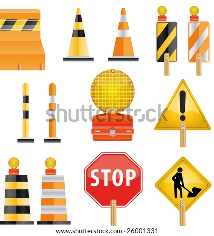 Construction icon set of road Barrier and light