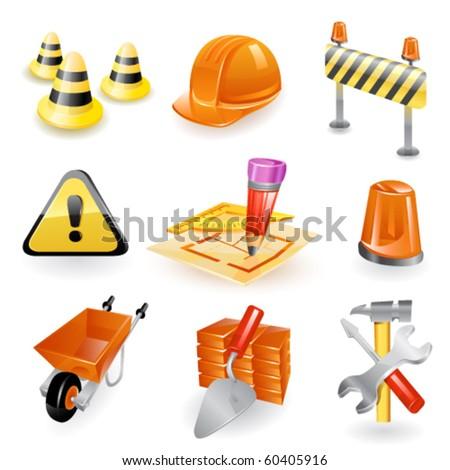 Construction icon set. Vector - stock vector