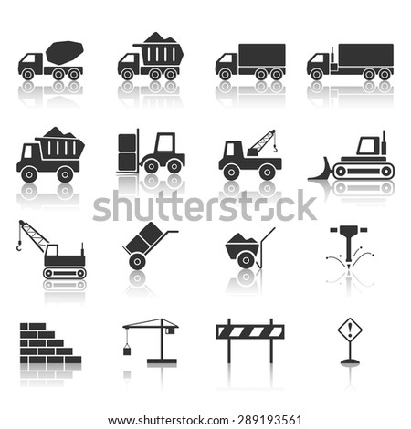 Construction icon set, Vector EPS10. - stock vector