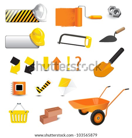 construction icons - stock vector