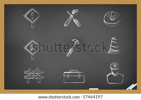 Construction icons drew on blackboard - stock vector