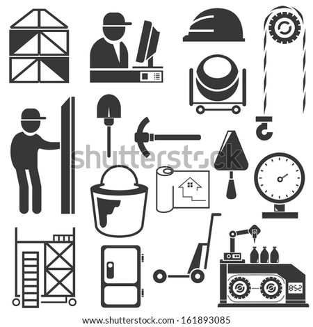 construction icons, engineering icons set - stock vector
