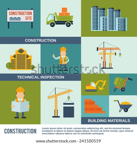 Construction icons flat set with technical inspection building materials elements isolated vector illustration - stock vector