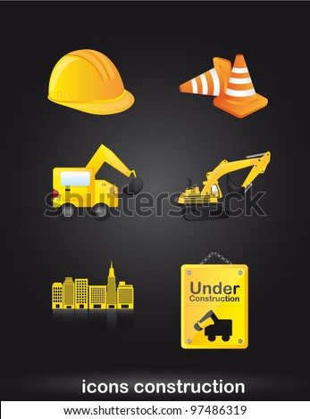 construction icons over black background. vector - stock vector