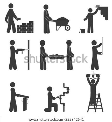 Construction icons, renovation, plumbing - stock vector