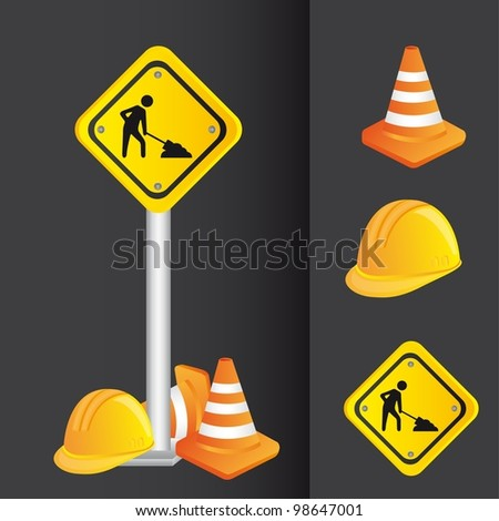 construction icons, road sign. vector illustration - stock vector