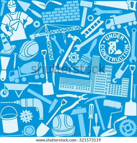 construction icons seamless pattern - stock vector