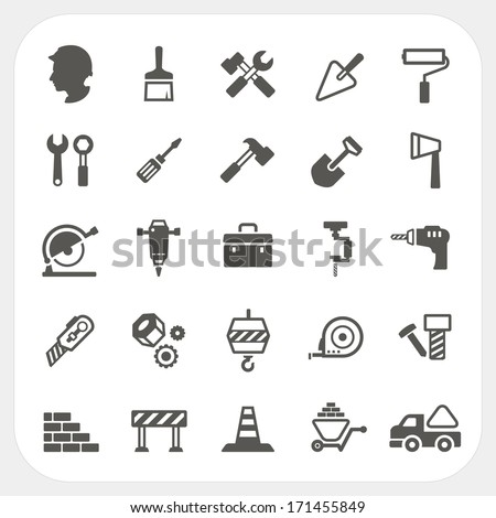 Construction icons set - stock vector