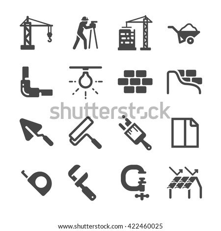 Construction icons set 2 - stock vector