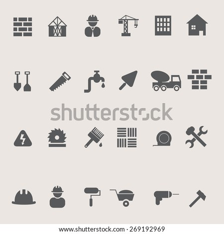 Construction icons set on pastel background, stock vector - stock vector