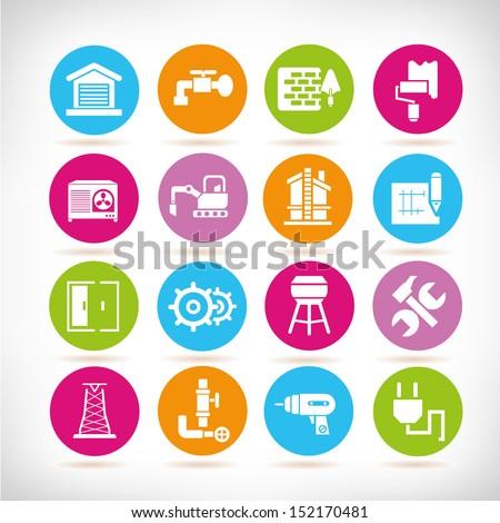construction icons set, round button set - stock vector
