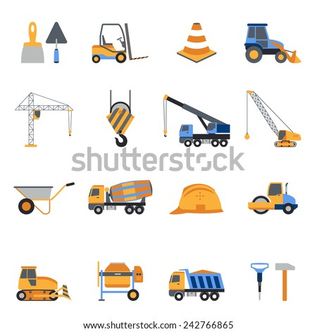 Construction icons set with builder tools and vehicles isolated vector illustration