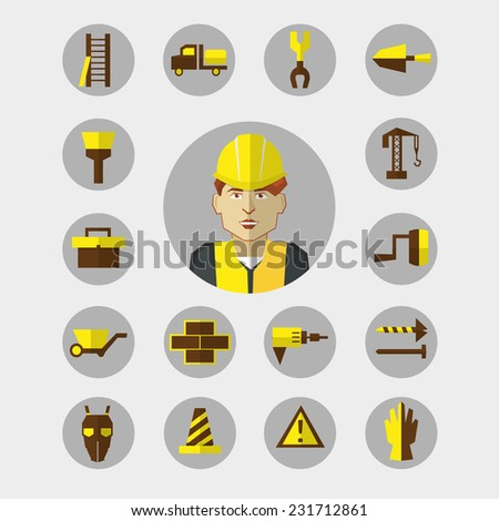 Construction icons set with worker - stock vector