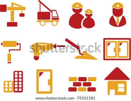 construction icons. signs, vector - stock vector