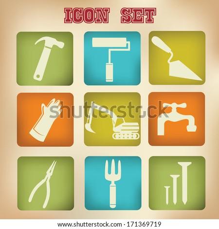 Construction icons,vintage version,vector - stock vector