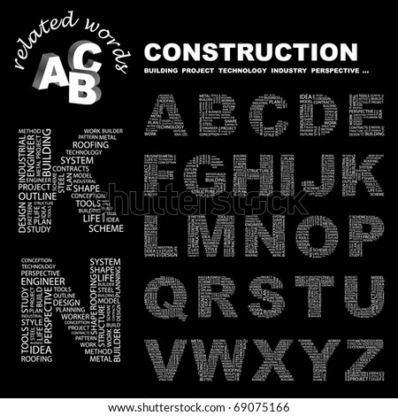 CONSTRUCTION. Illustration with different association terms. Vector letter collection.