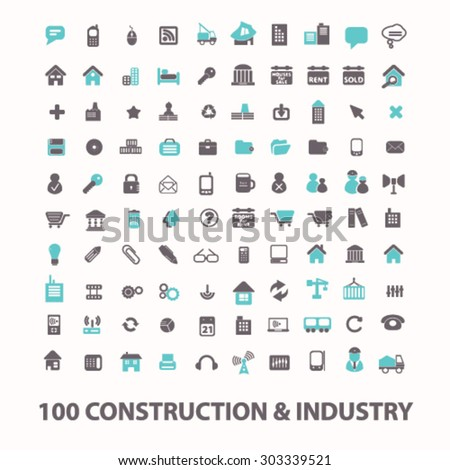 construction, industry, factory flat isolated icons, signs, illustrations set, vector