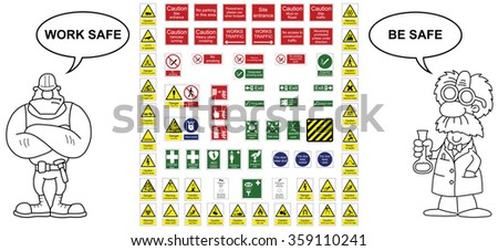 Construction industry hazard warning signs and office signs collection - stock vector