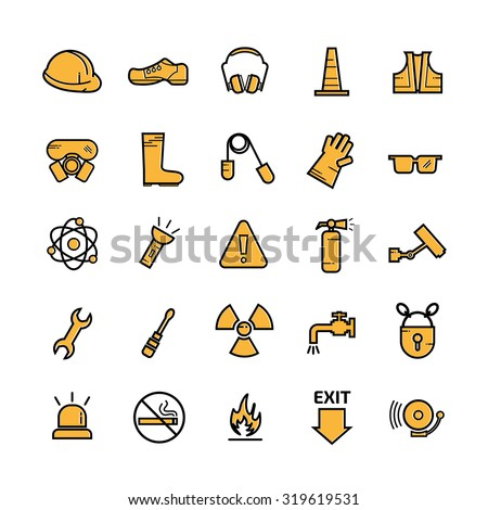Construction Industry Health and Safety Icons and sign  isolated on white background - stock vector