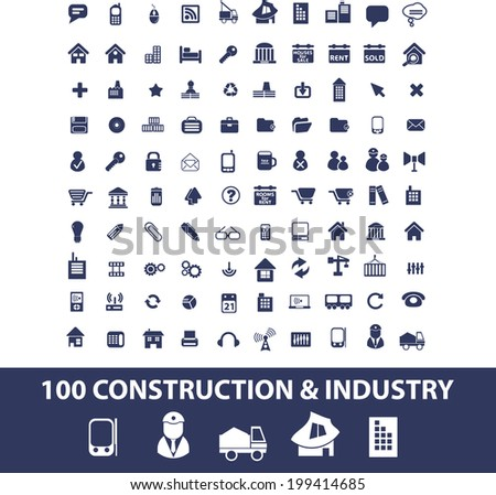 construction, industry, logistics, shipping icons set, vector