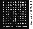 construction, industry,workers, equipment,  big business white isolated icons, signs on black background for design template, vector set - stock vector
