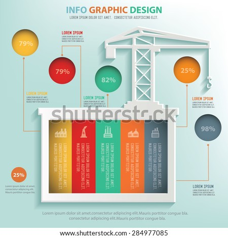 Construction info graphic design, Business concept design. Clean vector. - stock vector