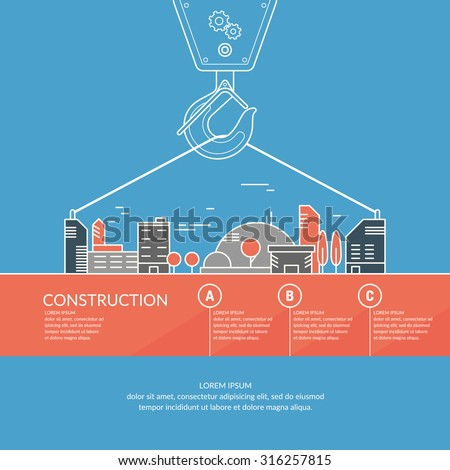 Construction. Infographics. Elements for cards, illustration, poster and web design.  - stock vector