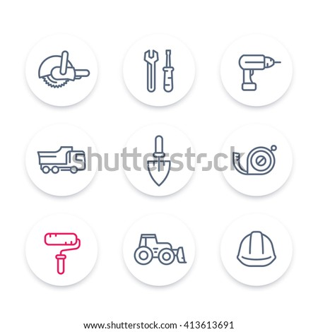 construction line icons, construction equipment and tools linear signs, pictograms, round icons set, vector illustration - stock vector