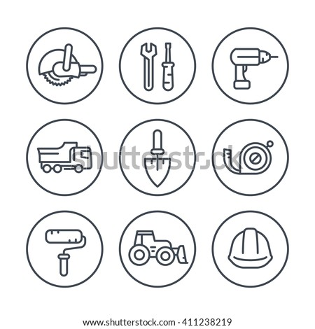 construction line icons in circles, construction tools and equipment linear signs, pictograms, vector illustration - stock vector