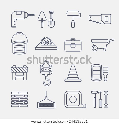 construction line icons on white background - stock vector