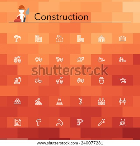 Construction line icons set. Vector illustration. - stock vector
