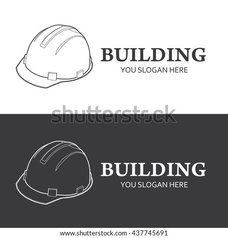 Construction logo isolated on white background. Hard hat line style vector illustration. Logotype building company. Construction helmet logo for construction working industry. - stock vector