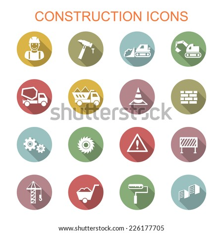 construction long shadow icons, flat vector symbols - stock vector