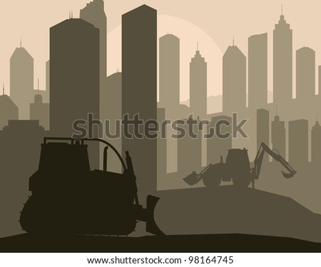 Construction machinery and bulding place vector background - stock vector