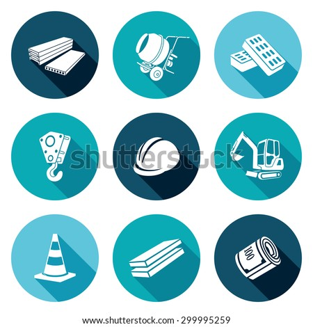 Construction machinery, equipment, rebar materials Icons Set. Vector Illustration. Isolated Flat Icons collection on a color background for design - stock vector