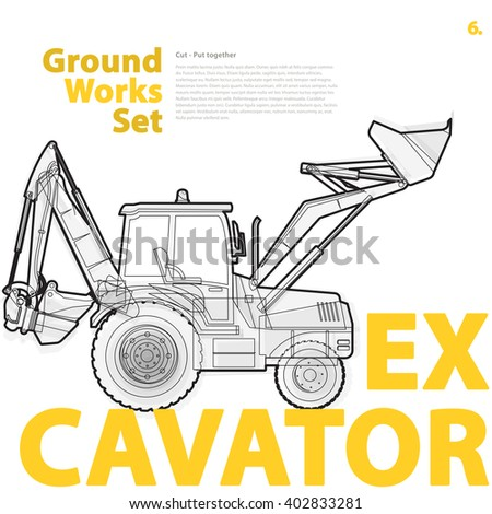 Construction machinery, excavator. Typography set of ground works machines vehicles on white. Construction equipment for building. Master vector illustration. Truck, Digger, Crane, Forklift, Roller - stock vector
