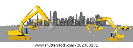 Construction Machinery in the City. Vector Illustration. EPS10 - stock vector