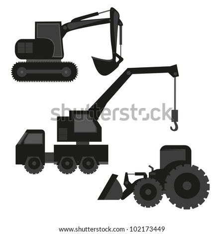 construction machinery silhouetted isolated on white background - stock vector