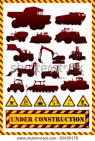 Construction machinery silhouettes. Vector illustration. - stock vector