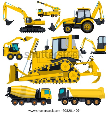 Construction machinery yellow set. Ground works. Machine vehicles, excavator. Structural building equipment. Truck, digger, crane, bagger, mix. Heavy pavement foundation. Master vector illustration. - stock vector