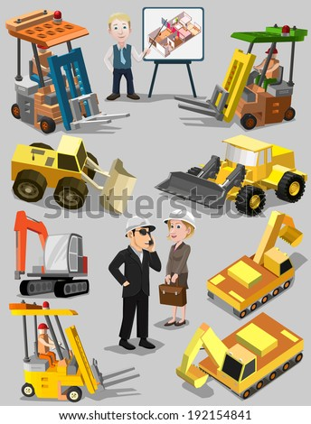 Construction machines and consultant. Bulldozer, excavator, crane and truck, people. Vector illustration - stock vector