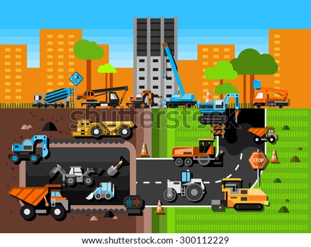 Construction machines and industry composition with excavator crane and mining in city flat vector illustration  - stock vector