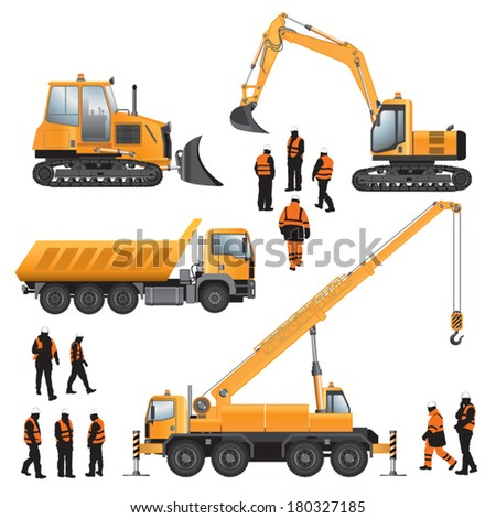 Construction machines and workers. Bulldozer, excavator, crane and truck. Vector illustration. - stock vector