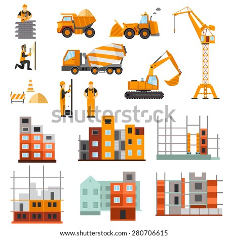 Construction machines builders and house building process decorative icons flat set isolated vector illustration - stock vector