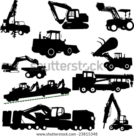 construction machines collection - vector - stock vector