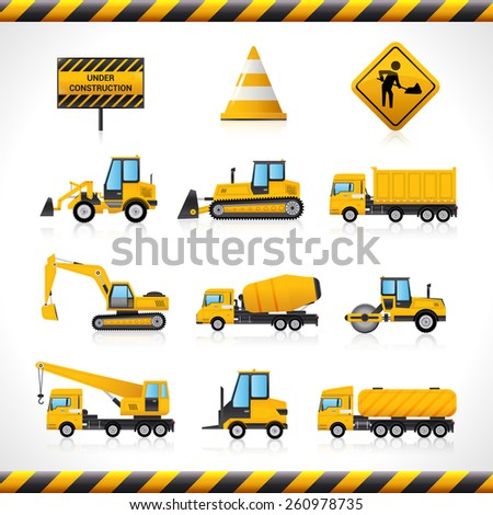 Construction machines decorative icons set with bulldozer excavator loader isolated vector illustration - stock vector